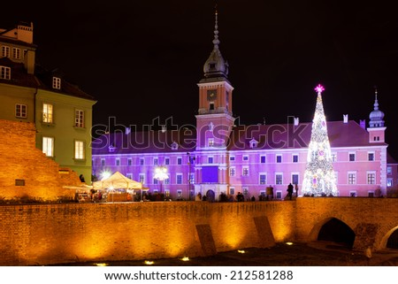 Royal Castle at night in the Old Town of Warsaw, Poland, during Christmas Time. - stock photo