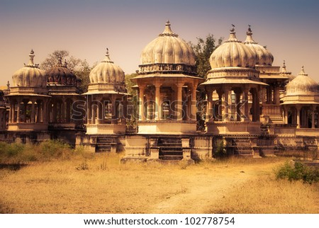 Royal Cemetery in Udaipur in India - stock photo