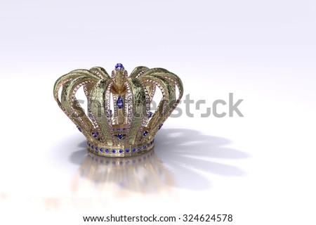 Royal Crown.  A crown fit for a queen, studded with sapphires and diamonds with intricate metal work. Original design, created using Blender. - stock photo