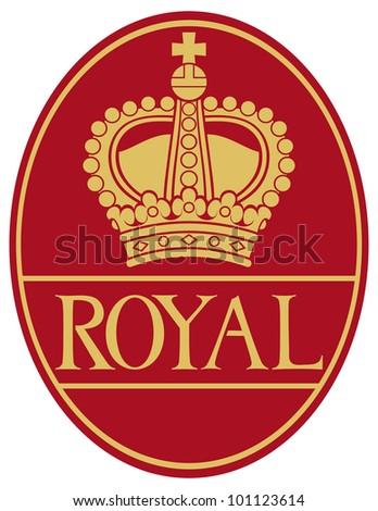 royal crown symbol (heraldic crown badge, royal crown label) - stock photo