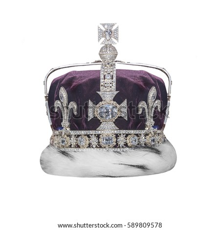 Royal crown with jewels isolated on white.