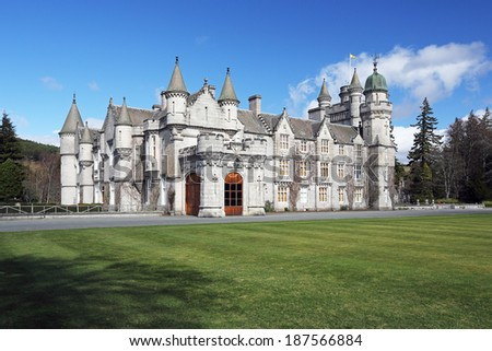 ROYAL DEESIDE, SCOTLAND - APRIL 13: Balmoral Castle and grounds on April 13, 2014 in Royal Deeside, Scotland. Balmoral Castle was built in 1856.