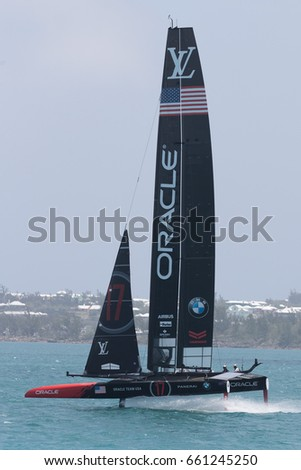 "Royal Dockyard, Bermuda - June 8, 2017: Oracle ""Team USA"" on course practicing during the Challenger Quarter Finals of the 2017 America's Cup in Bermuda"