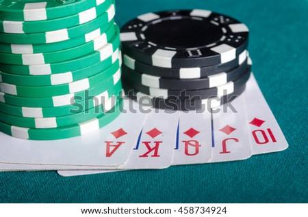 Royal flush from the diamond cards. Poker winner. - stock photo