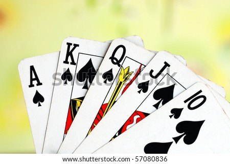 Royal flush from the poker cards concepts of winning - stock photo
