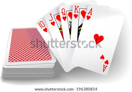 Royal flush hearts five card poker hand playing cards deck - stock photo