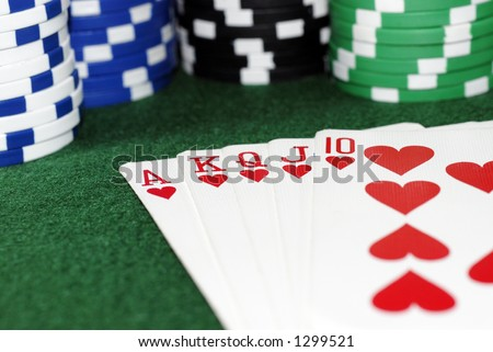 Royal Flush Hearts with Chip Stack