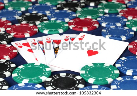 royal flush in poker chips close-up