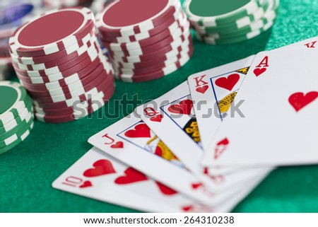 Royal Flush On The Green Background