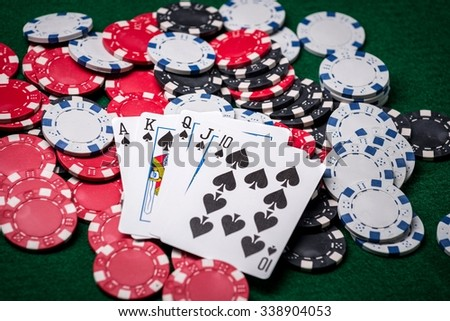 Royal Flush with Casino Chips