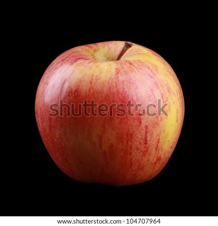 Royal Gala Apple isolated on black - stock photo
