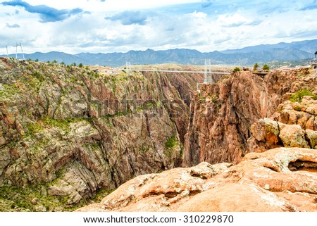 Royal George Suspension Bridge, Colorado, USA - stock photo