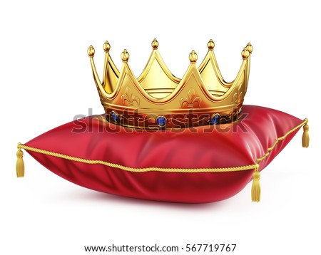 royal pillow drawing. royal gold crown on red pillow isolated white. 3d rendering. drawing r