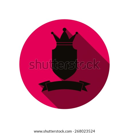 Royal insignia, security shield with a king crown isolated on white. Heraldry, imperial coat of arms. - stock photo