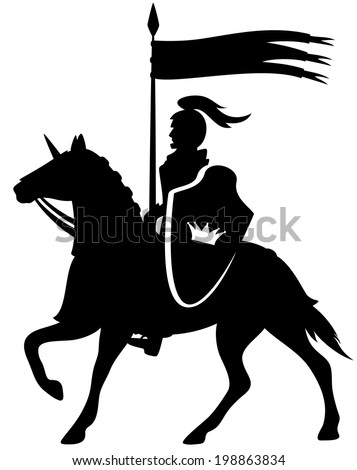 royal knight with a crown shield riding a horse - black silhouette on white