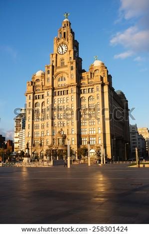 Royal Liver Building, Pier Head, Liverpool UK. - stock photo