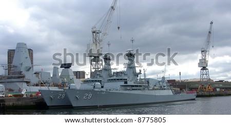 Royal Navy Frigates, River Clyde, Scotland - stock photo