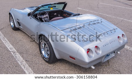 ROYAL OAK, MI/USA - AUGUST 12, 2015: A 1973 Chevrolet Corvette at the Woodward Dream Cruise. Woodward is a National Scenic Byway. - stock photo