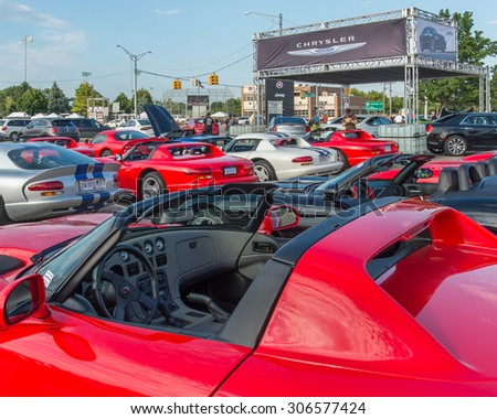 "ROYAL OAK, MI/USA - AUGUST 13, 2015: Nine Dodge SRT Viper cars at ""Viper Night"", part of the Woodward Dream Cruise. Woodward is a National Scenic Byway. - stock photo"