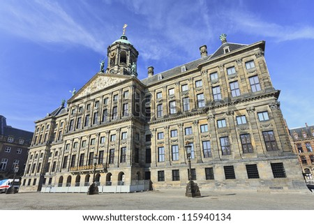 Royal Palace at the Dam Square, Amsterdam. It was built as city hall during the Dutch Golden Age in the seventeenth century. - stock photo