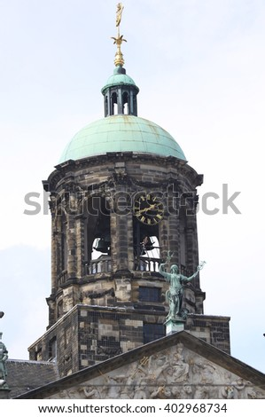 Royal Palace at the Dam Square in Amsterdam, the Netherlands - stock photo