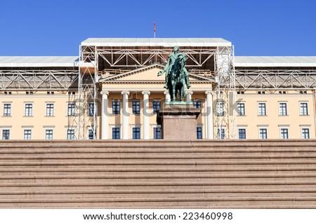 Royal Palace (Det kongelige slott) and Statue of Norwegian King Carl Johan XIV  Oslo, Norway - stock photo