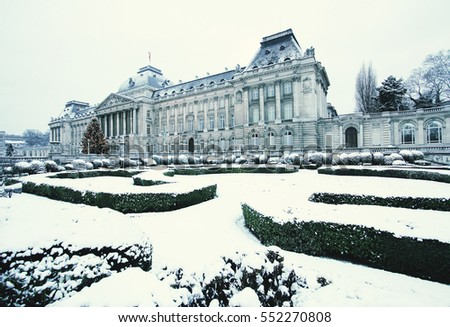 Royal Palace in Brussels, Belgium, in winter.