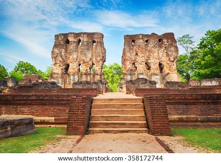 Royal Palace of King Parakramabahu in the world heritage city Polonnaruwa, Sri Lanka.  - stock photo