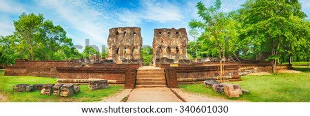 Royal Palace of King Parakramabahu in the world heritage city Polonnaruwa, Sri Lanka. Panorama - stock photo