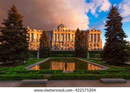 Royal Palace of Madrid and Sabatini park in Madrid, Spain
