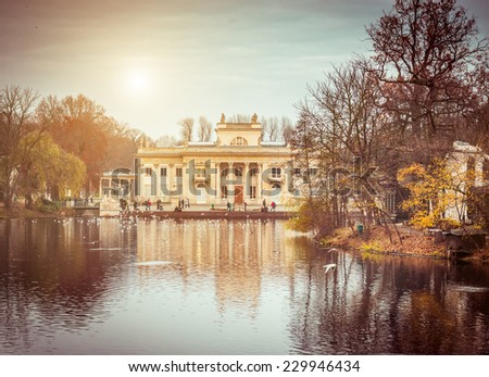 Royal Palace on the Water in Lazienki Park, Warsaw. Poland - stock photo