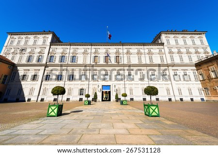 Royal Palace - Torino Italy. Facade and entrance of the Royal Palace (Palazzo Reale), XVII - XVII century, in Turin (Torino) Piemonte, Italy. UNESCO world heritage site - stock photo