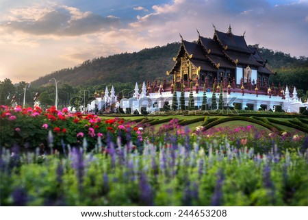 Royal Pavilion (Ho Kham Luang) at Royal Park Flora Expo,traditional thai architecture in the Lanna style, Chiang Mai province, Thailand - stock photo
