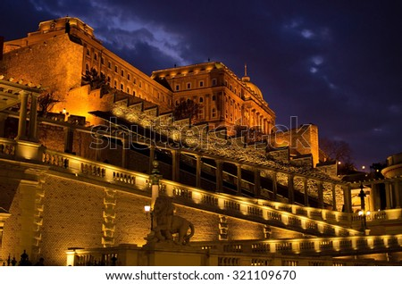 Royal place in Budapest during the night - Hungary - stock photo
