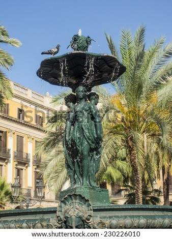 Royal Plaza is a square in the Barri G���²tic of Barcelona, Catalonia, Spain. - stock photo