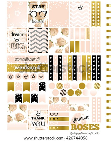 royal roses summer printable planner stickers - pale pink, gold and black - letter size - stock photo