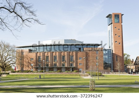 Royal Shakespeare Theatre and Swan Theatre in Stratford-upon-Avon, England, the birthplace of William Shakespeare.