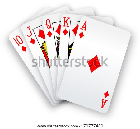 Royal straight flush playing cards winning poker hand in diamonds
