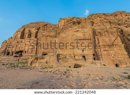 royal tombs in Nabatean Petra Jordan middle east - stock photo