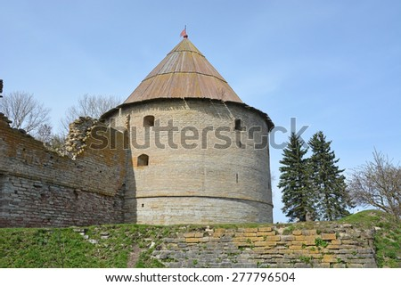 Royal tower of the fortress at Shlisselburg city. Fortress called Oreshek (Nut fortress) - stock photo