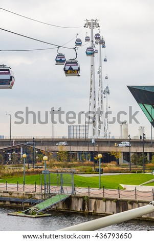 Royal Victoria Docks cable car station. The Emirates Air line cable car connects North Greenwich station, in the South of the Thames - stock photo