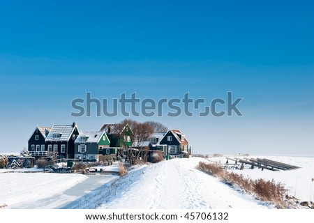 rozewerf in winter (Marken a small village near Amsterdam) - stock photo