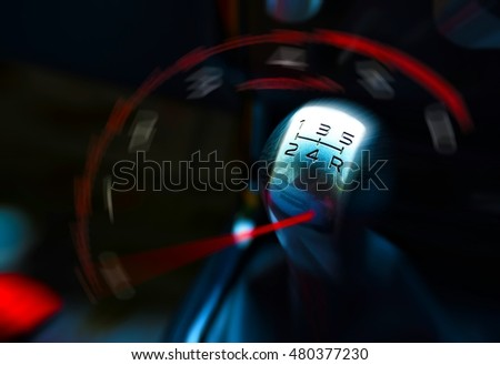 Rpm gauge and gearstick for speed driving