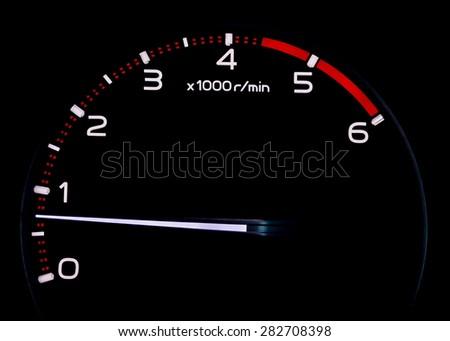 RPM tachometer meter - stock photo