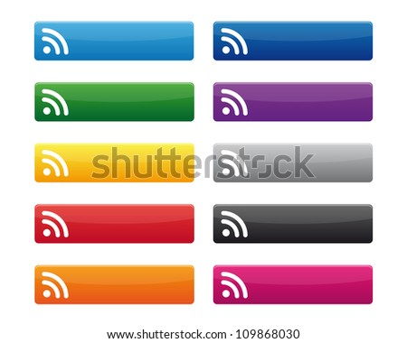 RSS buttons. Vector available. - stock photo