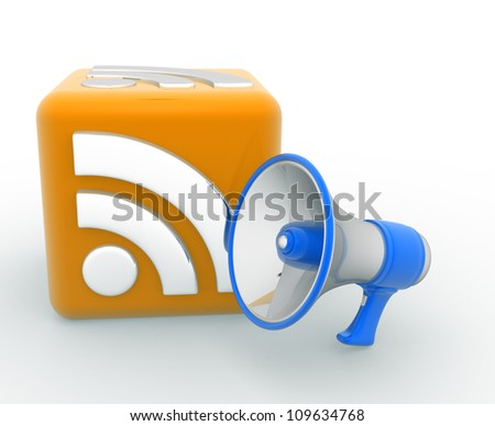 RSS concept and a megaphone. 3d render - stock photo
