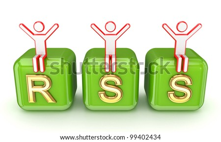 RSS concept.Isolated on white background.3d rendered. - stock photo
