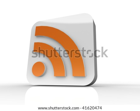 RSS feed  glass style icon in white and oranage - web 2.0 style, isolated