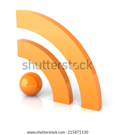RSS feed icon on white reflective surface. - stock photo