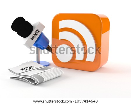 RSS icon with microphone news isolated on white background. 3d illustration